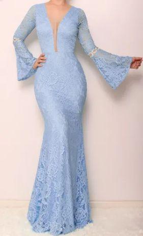 Vestido Azul Serenity Manga Flare  Renda Madrinha Casamento Formatura