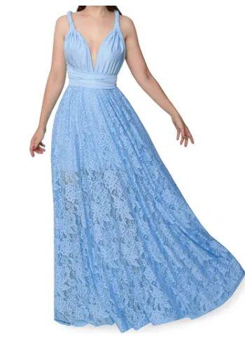 Vestido Azul Serenity multiformas  Renda Madrinha Casamento Formatura