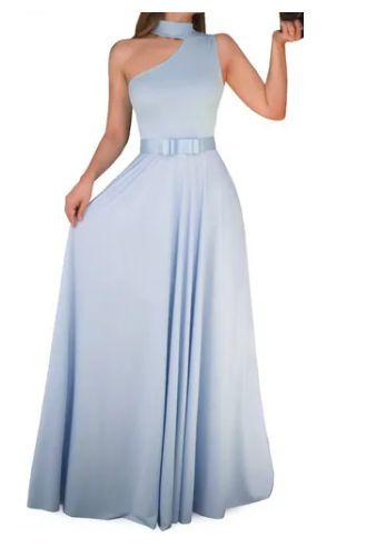 Vestido Longo Azul Serenity Madrinha Casamento Formatura Evasê Ombro Laço