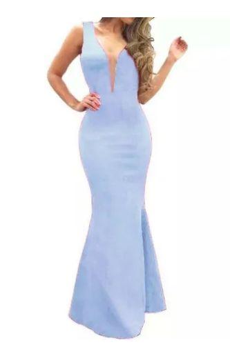 Vestido Longo Azul Serenity Sereia Madrinha Casamento Formatura Decote Tule