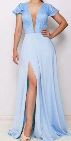 Vestido Longo Azul Serenity Fenda  Madrinha Casamento Formatura Decote V