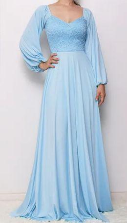Vestido Longo Azul Serenity Manga Bufante Madrinha Casamento Formatura