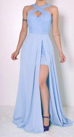 Vestido Longo Azul Serenity Godê com Fenda Madrinha Casamento Formatura