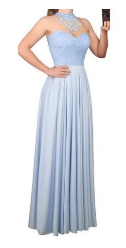 Vestido Azul Serenity Longo Godê Tule Madrinha Casamento Formatura