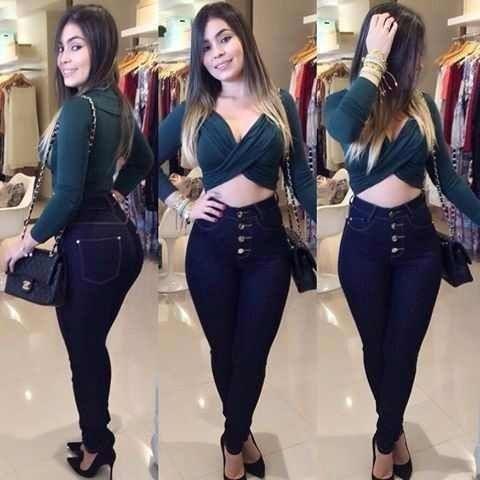 Calça Jeans Feminina Cintura Alta Levanta Bumbum Com Lycra