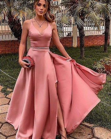 Vestido Longo Rosé Festa Madrinha Casamento Formatura
