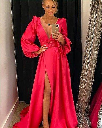 Vestido Longo Rosa pink Festa Madrinha Casamento Formatura