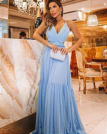Vestido Longo azul serenity Baile Festa Madrinha Casamento Formatura