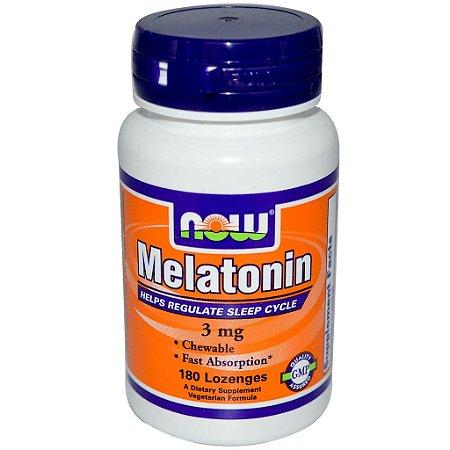 Melatonina 3 mg - Now Foods - Rápida Absorção  - 180 comprimidos mastigáveis