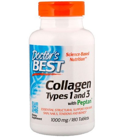 Colágeno 1000 mg - Doctor's Best - (Best Collagen, Types 1 & 3)  - 180 Tabletes