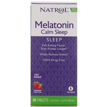 Melatonina Natrol 6mg Calm Sleep + Anti-stress - 60 comprimidos sabor Morango