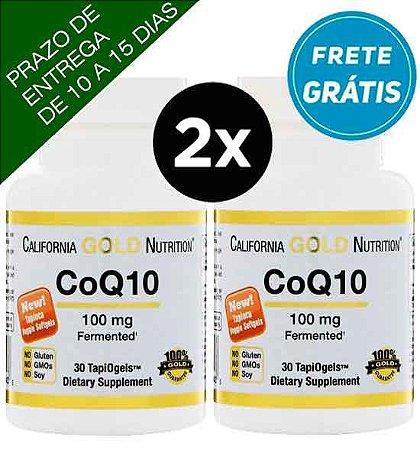 "2X CoQ10 (Coenzima Q10) 100mg - California Gold Nutrition - 30 ""Cápsulas gel"" vegetarianas"