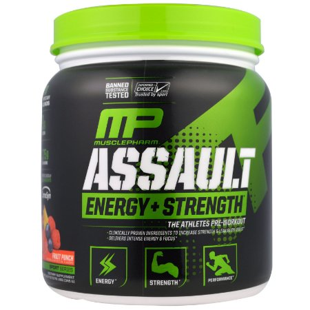 Assault Muscle Pharm,  Energia + Força, Sabor morango, 345 g