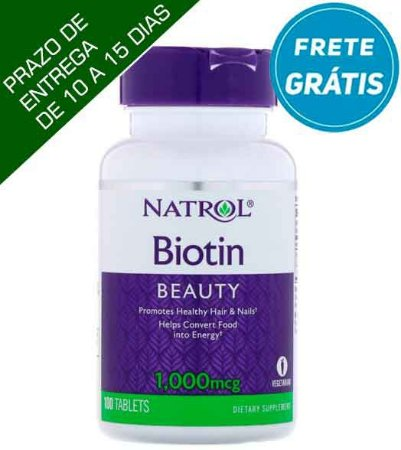 Biotina Natrol - 1,000 mcg - 100 comprimidos