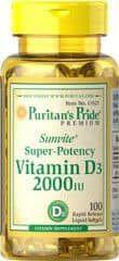 Vitamina D3, 2.000IU, Puritan's Pride, 100 Cápsulas - Super Potência