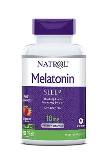 Melatonina 10mg Rápida Dissolução, Sublingual Sabor Morango Natrol 100 comprimidos