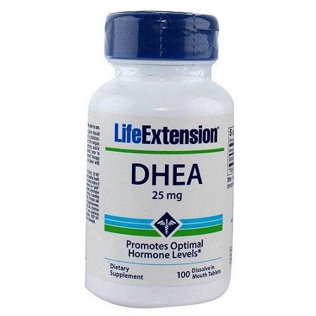 Dhea 25 mg Life Extension 100 Comprimidos Sublingual - Rápida Dissolução