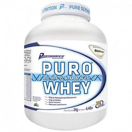 Puro Whey 100% Pura Sabor Morango 4lbs - 2kg Performance