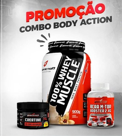 Combo Body Action ( Whey Protein 900Gr + Creatina 70Gr + Bcaa 90 Capsulas )