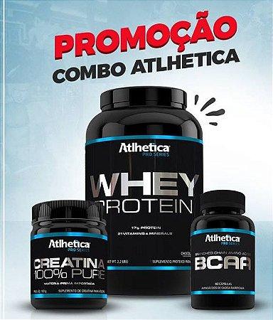 Combo Atlhetica ( Whey Protein 900Gr + Creatina 100Gr + Bcaa 60 Capsulas )