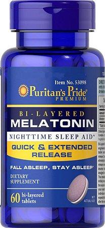 Melatonina, 5mg Bi-Layered (Liberação Dupla) 60 Comprimidos, Puritans Pride