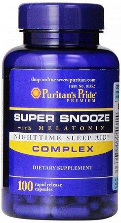 Melatonina Super Snooze 5 mg, 100 Cápsulas Rápida Liberação, Puritans Pride