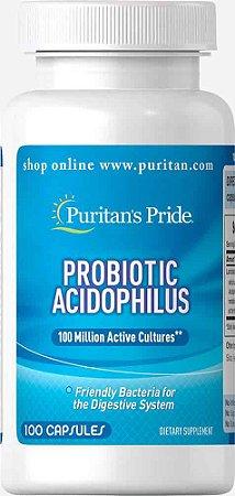 Probiótico 100 Capsulas - 100 milhões de Lactobacillus - Acidophilus