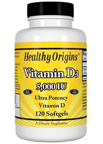 Vitamina D3 - Healthy Origin's - 5.000IU - 120 Cápsulas