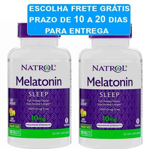 2X Melatonina 10mg Natrol Força Máxima Sabor Citrus 100 comprimidos