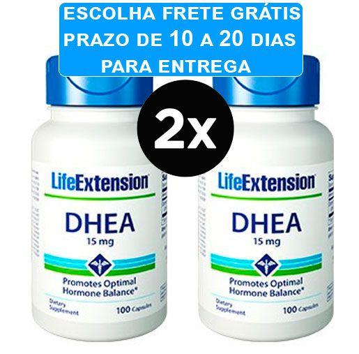 2X Dhea 15mg Life Extension, 100 capsulas FRETE GRÁTIS