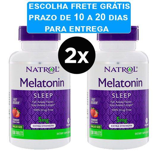 2X Melatonina 5mg Fast Dissolve sublingual Sabor Morango - Natrol - 150 comprimidos