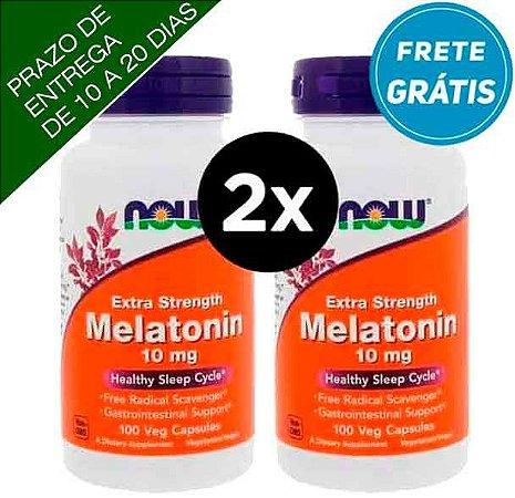 2X Melatonina 10mg, Força Extra, Now Foods, 100 Capsulas vegetarianas