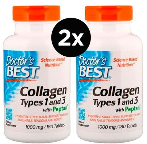 2x Colágeno 1000 mg - Doctor's Best - (Best Collagen, Types 1 & 3)  - 180 Tabletes