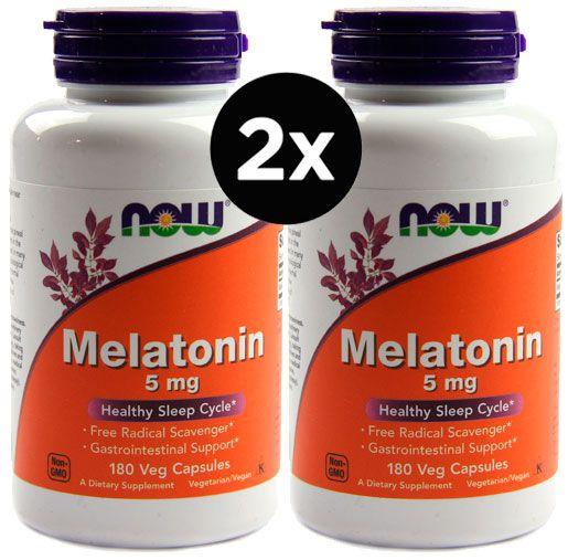 2X Melatonina 5mg, Now foods, 180 Cápsulas
