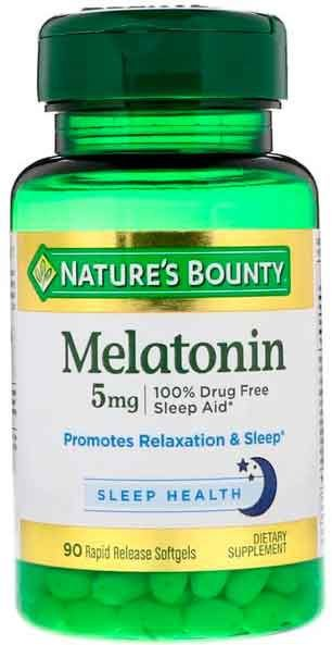 Melatonina 5mg, Natures Bounty, 90 Cápsulas