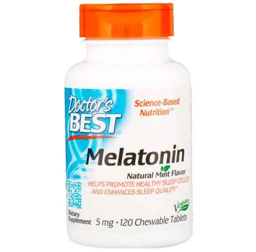 Melatonina 5mg, Doctor Best, 120 comprimidos Mastigáveis, Sabor Menta
