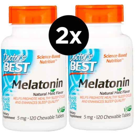2X Melatonina 5mg, Doctor Best, 120 comprimidos Mastigáveis, Sabor Menta