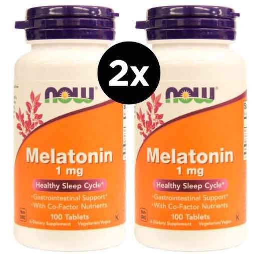 2X Melatonina 1mg, Now foods, 100 comprimidos