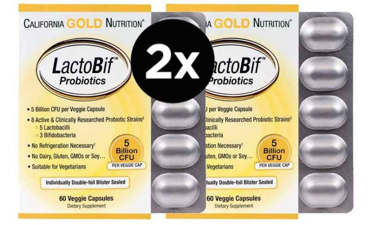 2x Probióticos LactoBif - California Gold Nutrition, 5 bilhões de CFU, 60 cápsulas  (TOTAL DE 120 CÁPSULAS)