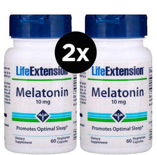 2X Melatonina Life Extension - 10 mg - 60 cápsulas ( TOTAL DE 120 CÁPSULAS )