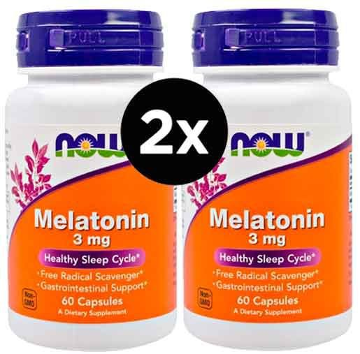 2X Melatonina 3mg - Now Foods - 60 cápsulas