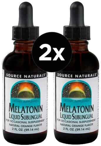 2X Melatoninas Líquida 1mg - Sabor Laranja - Source Naturals-59 ML