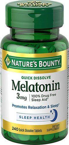 Melatonina 3mg Rápida Dissolução, Nature's Bounty - com 240 comprimidos