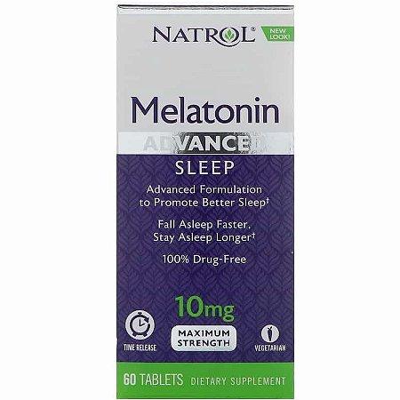 Melatonina 10mg Natrol Liberação Rápida e Gradual - 60 comprimidos Força Máxima