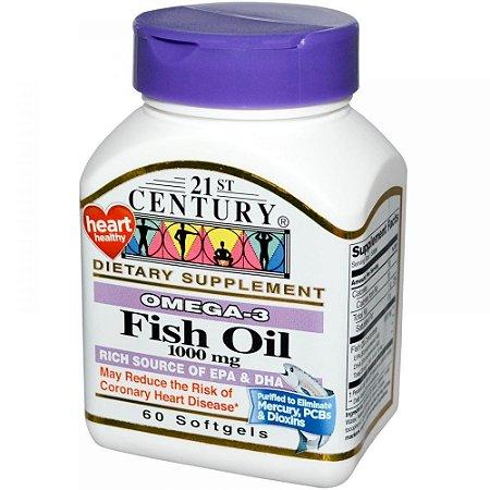 Ômega 3 Óleo de Peixe , 21st Century- 1000 mg, 60 Capsulas