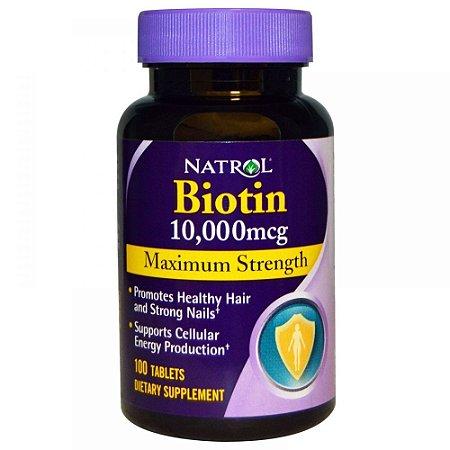 Biotina 10,000 mcg força máxima - Natrol - 100 Tabletes