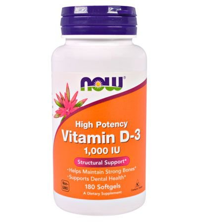 Vitamina D3, 1.000 IU, 180 Softgels - NOW Foods