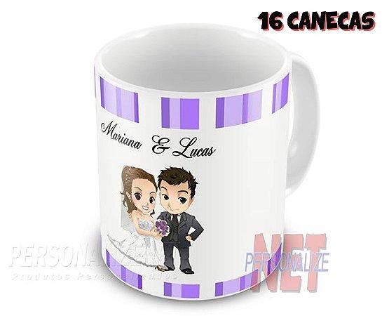 16 Canecas Personalizadas em Porcelana - Casamento - K2