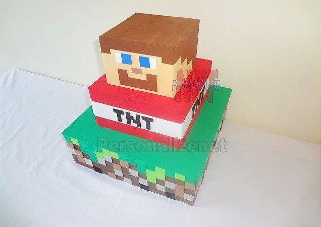 Bolo em EVA Decorativo Fake Minecraft