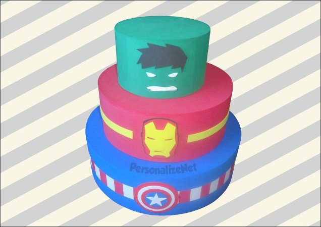 Bolo Eva Fake Cenográfico Decorativo Vingadores Avengers